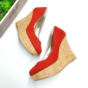 Matisse Red Pammy Cork Wedges